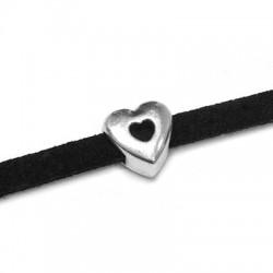 Μεταλλικό Ζάμακ Χυτό Στοιχείο Καρδιά Περαστή 7mm(Ø3.2x2.2mm)