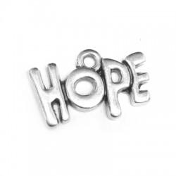 """Pendentif en Métal/Zamak avec phrase """"HOPE"""" 18x11mm"""