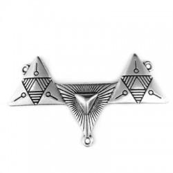 Ciondolo in Zama Triplo Triangolo con Portaciondoli 50x25mm