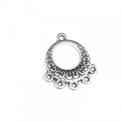 Zamak Round Pendant with 5 Loops 18mm