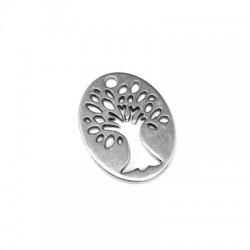 Ciondolo in Zama Ovale con Albero della Vita 26x20mm