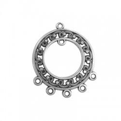 Pendentif rond éthnique avec anneaux en Métal/Zamak 30mm