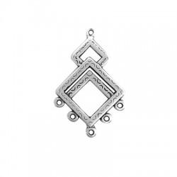 Pendentif éthnique losanges avec anneaux en Métal/Zamak 26x36mm