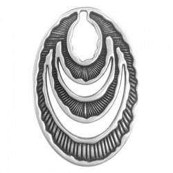 Pendentif Ovale en Métal/Zamak 48x72mm