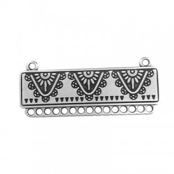 Intecalaire collier éthnique avec anneaux en Métal/Zamak 45x15mm
