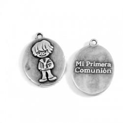 """Charm in Zama Ovale con Bimbo e Scritta """"Mi Primera Comunion"""" 18x21mm"""