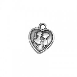 Μεταλλικό Ζάμακ Χυτό Μοτίφ Καρδιά με Αγόρι και Κορίτσι 13mm