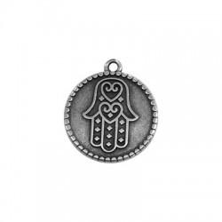 Médaille ronde avec main de Fatima en Métal/Zamak 20mm
