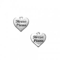 Zamak Charm Heart 'Mezzo Piano' 15x14mm