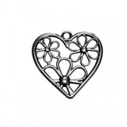 Zamak Pendant Heart w/ Flowers 28mm