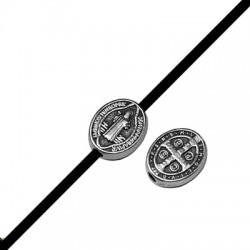 Passante in Zama Ovale con Jesu' e Croce 8x10mm (Ø 1.9mm)