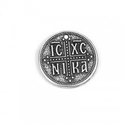 "Charm in Zama Rotondo con Scritta ""ICXC NIKA"" 22mm"