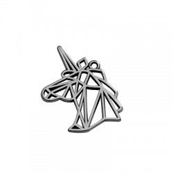 Zamak Pendant Unicorn Origami 20x29mm