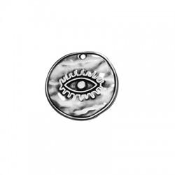 Ciondolo in Zama Rotondo con Occhio Portafortuna 28mm