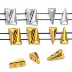 Zamak Bead Twin Triangle 3x7mm/3mm (Ø 1mm)