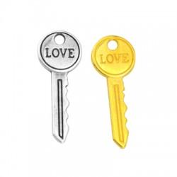 """Μεταλλικό Ζάμακ Χυτό Μοτίφ Κλειδί """"LOVE"""" 10x27mm (Ø2mm)"""
