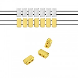 Zamak Bead Twin Rectangular 8x4mm (Ø 1.2mm)