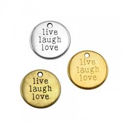 """Μεταλλικό Ζάμακ Χυτό Μοτίφ Στρογγυλό """"Live Laugh Love"""" 19mm"""