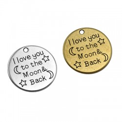 "Zamak Charm Round "" Love you to the moon"" 25mm"