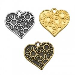 Μεταλλικό Ζάμακ Χυτό Μοτίφ Καρδιά Λουλούδια 19x18mm