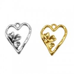 Pendentif cœur avec fleur en Métal/Zamak 16x20mm