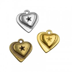 Zamak Charm 2 Hearts 15x14mm