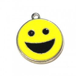 Metal Zamak Cast Charm Smile with Enamel 18mm