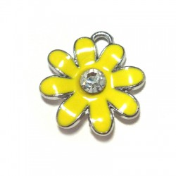 Metal Zamak Cast Charm Flower with Enamel 20mm