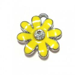 Μεταλλικό Μοτίφ Λουλούδι με Σμάλτο και Στρας 20mm