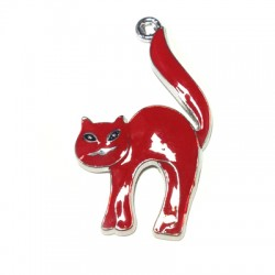 Metal Zamak Cast Pendant Cat with Enamel 23x38mm