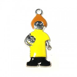 Metal Zamak Cast Pendant Boy with Enamel 15x34mm