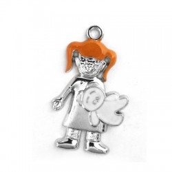 Metal Zamak Cast Pendant Girl with Enamel 20x35mm