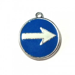 Metal Zamak Cast Charm Right Turn Sign with Enamel 20x24mm