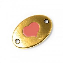 Metal Zamak Cast Connector with Enamel Heart 20x13mm