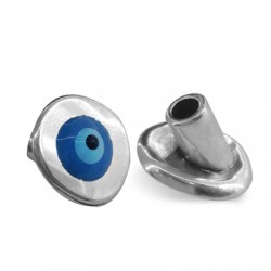 Chiusura in Zama Bottone con Occhio Portafortuna Smaltato 16x14mm (Ø 4mm)