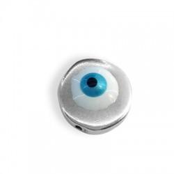 Passant en Métal/Zamak avec œil porte-bonheur émaillé 12x3,5mm (Ø 1,2mm)
