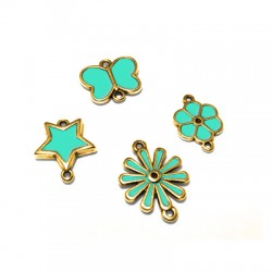Metal Zamak Cast with Enamel Flowers(17x23mm-13x18mm) / Star(16x18mm) / Butterfly(17x15mm)