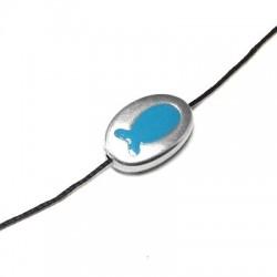 Μεταλλικό Ζάμακ Χυτό Στοιχείο με Σμάλτο Βότσαλο Ψάρι Περαστό 21,5x14x6mm (Ø 2mm)