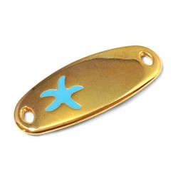 Intercalaire Bracelet Ovalé en Métal/Zamak avec Étoile de Mer Émaillé 34x14mm (Ø 3.2x1.9mm)