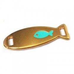 Metal Zamak Cast Connector Tag Fish with Enamel 36x13mm