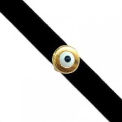 Passante in Zama Cerchio con Occhio Portafortuna Smaltato 9mm (Ø 5x2mm)