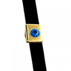 Passante in Zama Rettangolo con Occhio Portafortuna Smaltato 10x8mm (Ø 5x2mm)