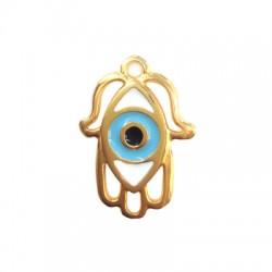Metal Zamak Cast Charm Hamsa Hand with Enamel Eye 20x16mm