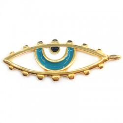 Metal Zamak Cast Pendant Eye with Enamel 38x16mm