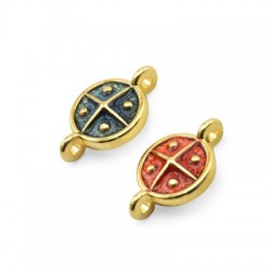 Zamak Connector Round Cross w/ Enamel 10mm