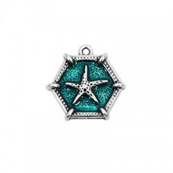 Zamak Pendant Exagon Starfish w/ Enamel 28x25mm