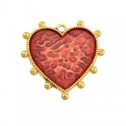 Μεταλλικό Ζάμακ Χυτό Μοτίφ Καρδιά με Σμάλτο 25mm