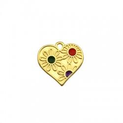 Μεταλλικό Ζάμακ Χυτό Μοτίφ Καρδιά Λουλούδι με Σμάλτο 19x18mm