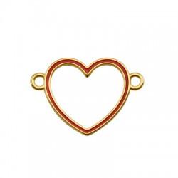 Μεταλλικό Ζάμακ Χυτό Στοιχείο Καρδιά με Σμάλτο 30x27mm