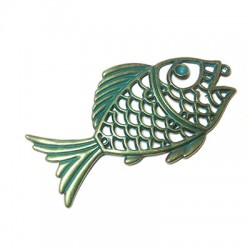 Metal Zamak Cast Pendant Fish 44x82mm